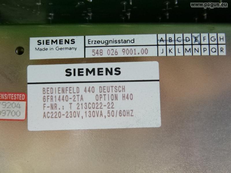 Bedienfeld SIROTEC Typ 440 - gebrauchte und neu Maschinenhandel - Pagus