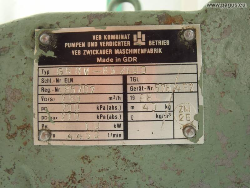 Anbaukompressor gkrv 65 100 250 m h gebrauchte und neu for Pumpen und verdichter